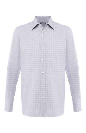 Мужская хлопковая сорочка с воротником кент TOM FORD серого цвета, арт. 5FT841/94C1JE | Фото 1