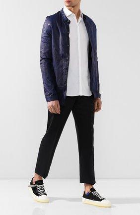 Мужская кожаная куртка GIORGIO BRATO синего цвета, арт. GU19S1002V   Фото 2 (Рукава: Длинные; Мужское Кросс-КТ: Куртка-верхняя одежда, Кожа и замша, Верхняя одежда; Длина (верхняя одежда): Короткие; Статус проверки: Проверено; Кросс-КТ: Куртка)