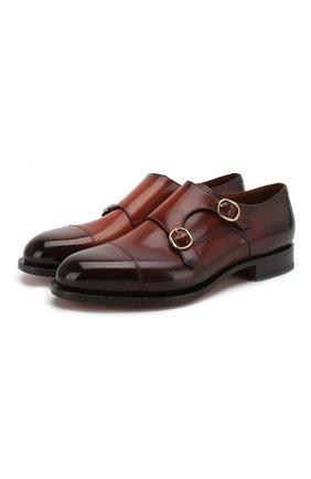 Мужские кожаные монки  SANTONI коричневого цвета, арт. MCC013973MC3HBSDR56 | Фото 1