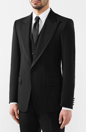 Мужской шерстяной смокинг-тройка с шелковыми лацканами DOLCE & GABBANA черного цвета, арт. GK6XMT/FU2NF | Фото 2