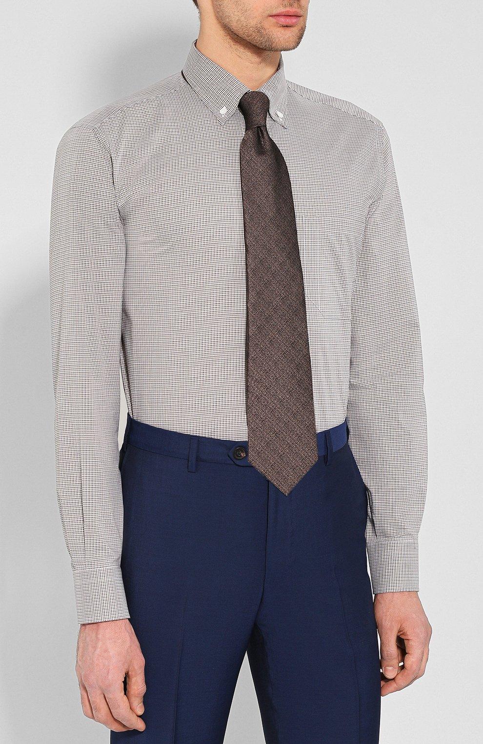 Мужская хлопковая рубашка BRIONI бежевого цвета, арт. SCAA0M/P8029 | Фото 4