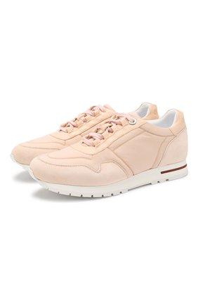 Женские комбинированные кроссовки wind  LORO PIANA светло-розового цвета, арт. FAF6259 | Фото 1