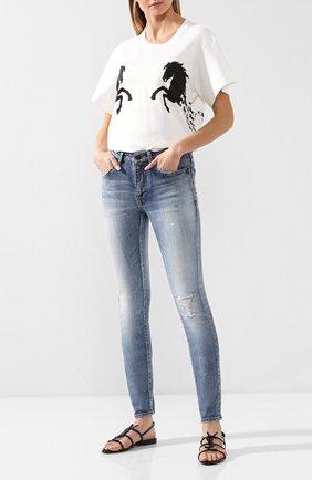 Женские кожаные сандалии cassandra SAINT LAURENT черного цвета, арт. 552245/0NPVV | Фото 2