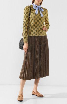 Женские текстильные лоферы jordaan gg  GUCCI бежевого цвета, арт. 431467/KY980 | Фото 2