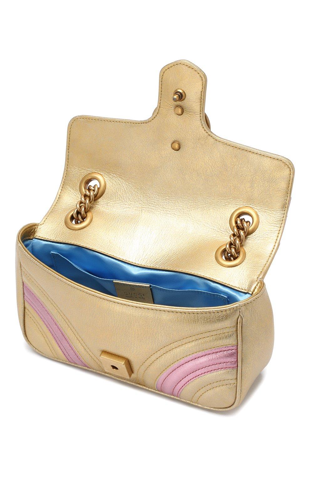 Сумка GG Marmont mini  Gucci золотая цвета   Фото №4