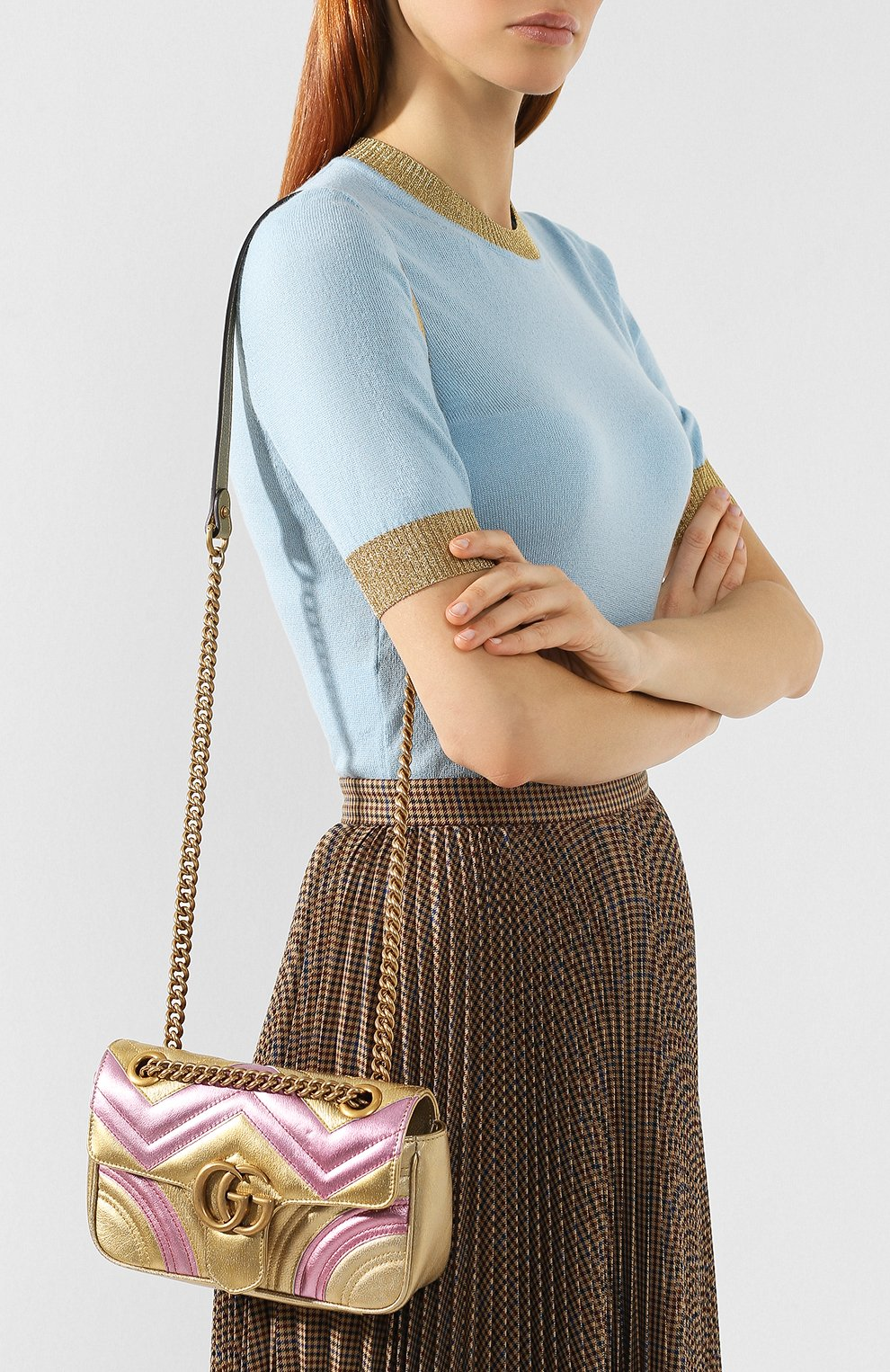 Сумка GG Marmont mini  Gucci золотая цвета   Фото №5