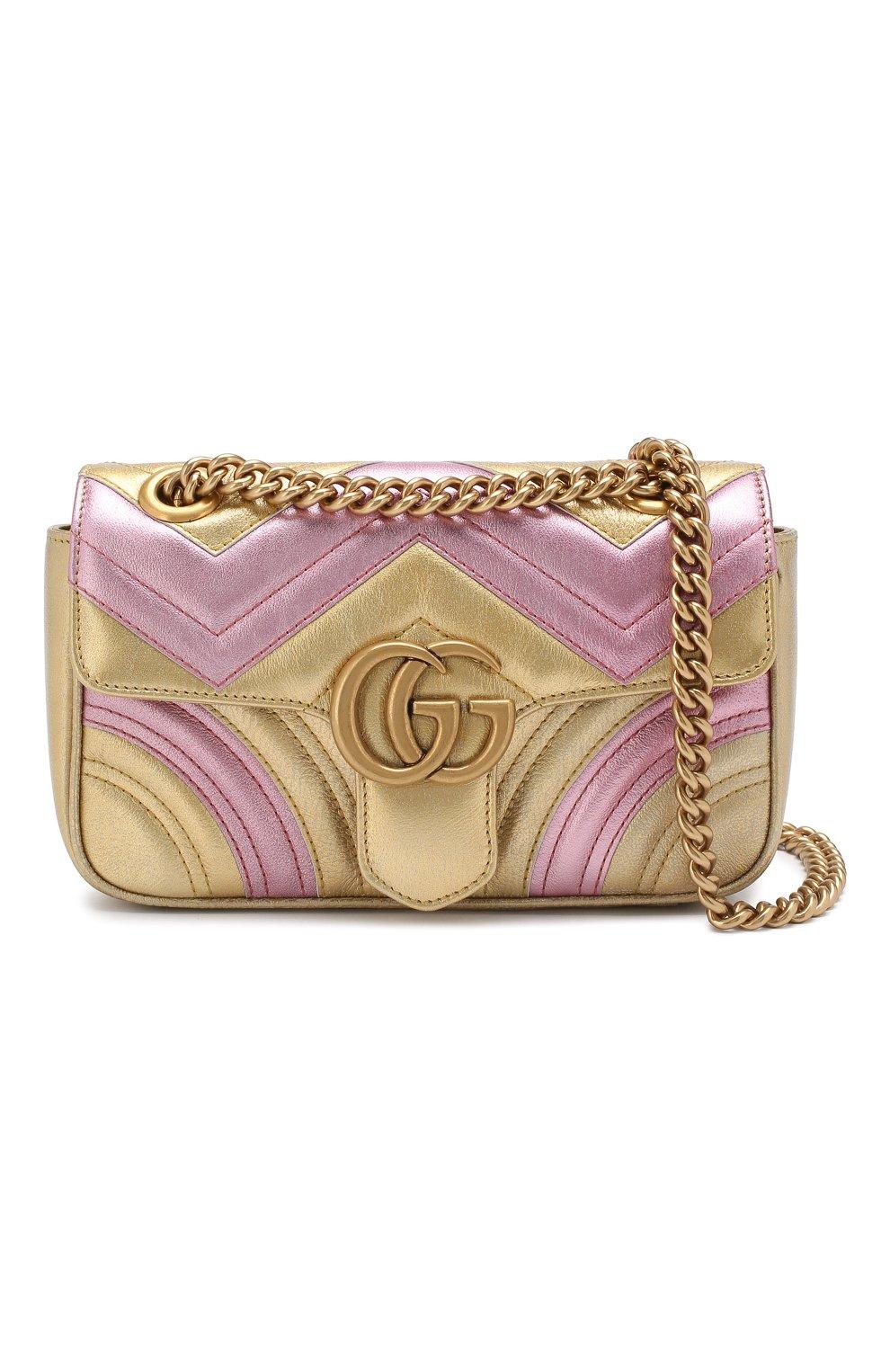 Сумка GG Marmont mini  Gucci золотая цвета   Фото №6