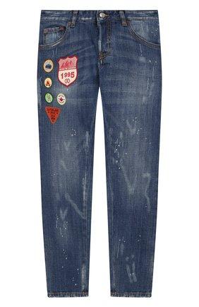 Детские джинсы с декоративными потертостями DSQUARED2 синего цвета, арт. DQ01Q3-D00U2 | Фото 1
