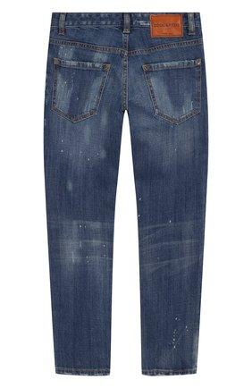 Детские джинсы с декоративными потертостями DSQUARED2 синего цвета, арт. DQ01Q3-D00U2 | Фото 2