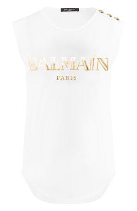 Женский хлопковый топ BALMAIN белого цвета, арт. RF11075/I042   Фото 1
