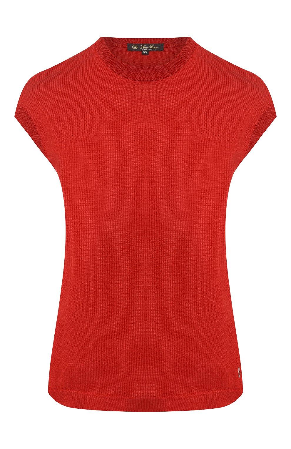 Женский топ из смеси шелка и хлопка LORO PIANA красного цвета, арт. FAI4414   Фото 1
