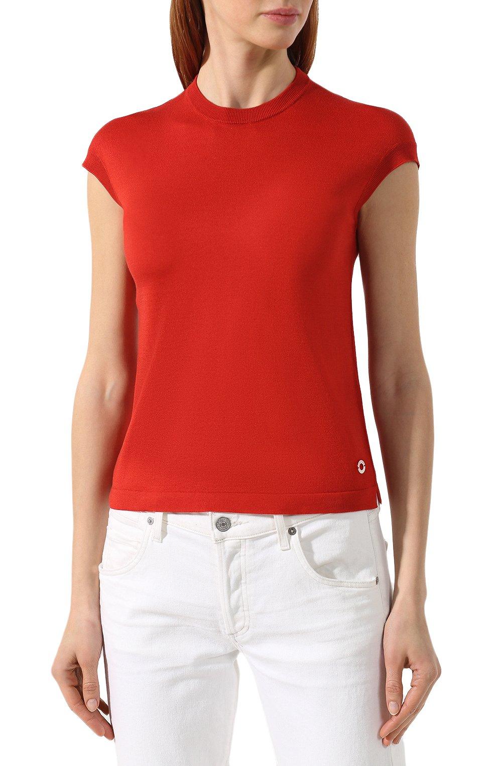 Женский топ из смеси шелка и хлопка LORO PIANA красного цвета, арт. FAI4414   Фото 3