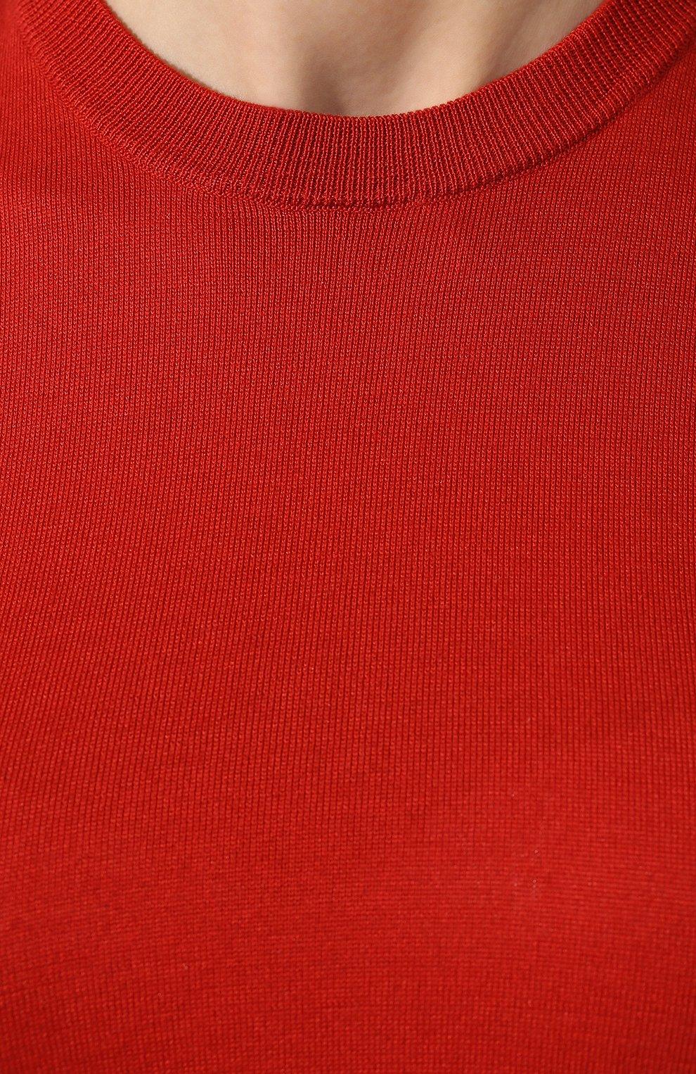 Женский топ из смеси шелка и хлопка LORO PIANA красного цвета, арт. FAI4414   Фото 5