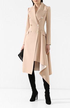 Женское шерстяное пальто ALEXANDER MCQUEEN бежевого цвета, арт. 558736/QMK12 | Фото 2