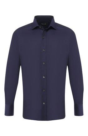 Мужская хлопковая сорочка с воротником кент TOM FORD темно-синего цвета, арт. 5FT194/94S1AX | Фото 1