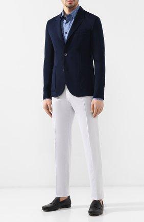 Мужская хлопковая рубашка с воротником кент BILLIONAIRE синего цвета, арт. B19C MRP0783 BTE002N | Фото 2