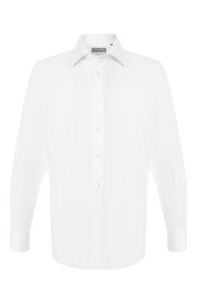 Мужская хлопковая рубашка с воротником кент CANALI белого цвета, арт. N705/GR01598 | Фото 1