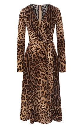 Женское платье с принтом DOLCE & GABBANA леопардового цвета, арт. F69F3T/FSRKI | Фото 1