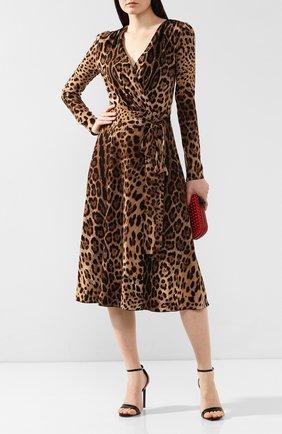 Женское платье с принтом DOLCE & GABBANA леопардового цвета, арт. F69F3T/FSRKI | Фото 2