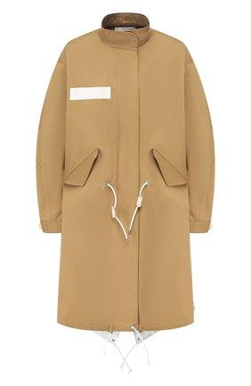 Женское хлопковое пальто SACAI бежевого цвета, арт. SCW-004 | Фото 1