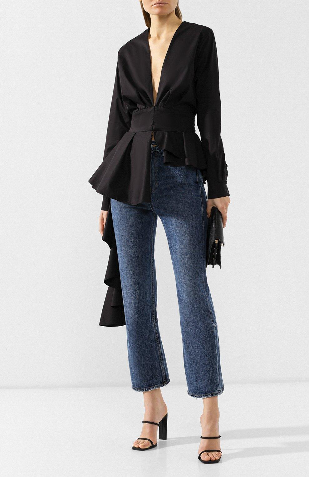 Укороченные джинсы Proenza Schouler голубые | Фото №2
