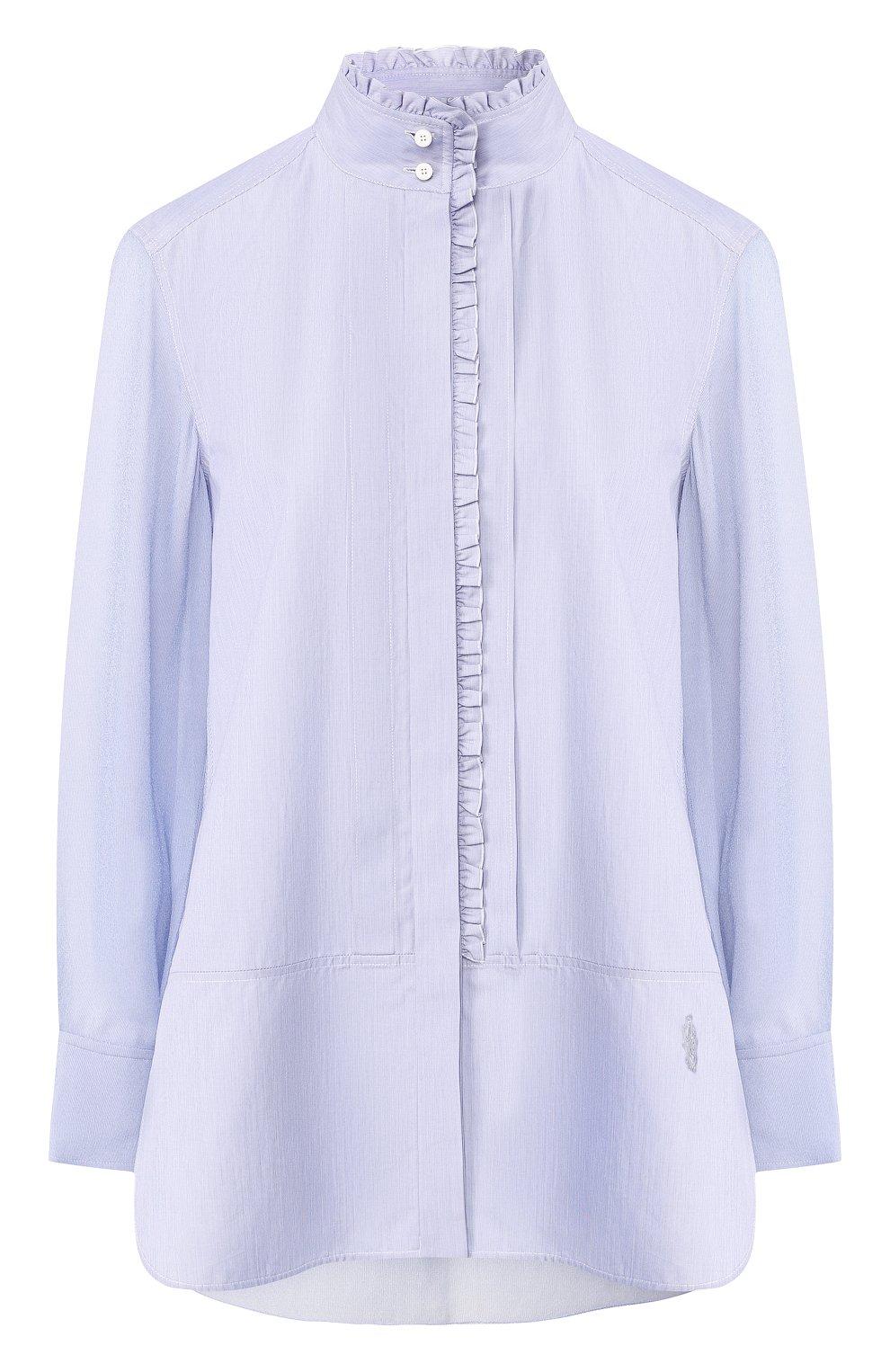 01349e60820 Женская голубая рубашка с воротником-стойкой CHLOÉ — купить за 73100 ...