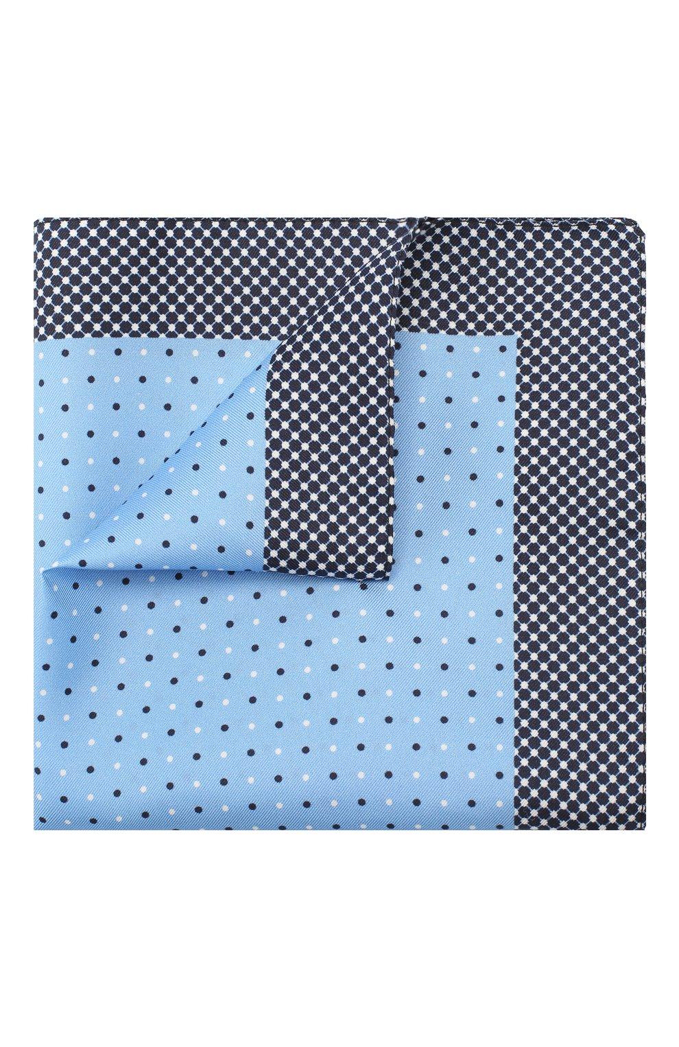 Мужской шелковый платок BOSS голубого цвета, арт. 50407225   Фото 1