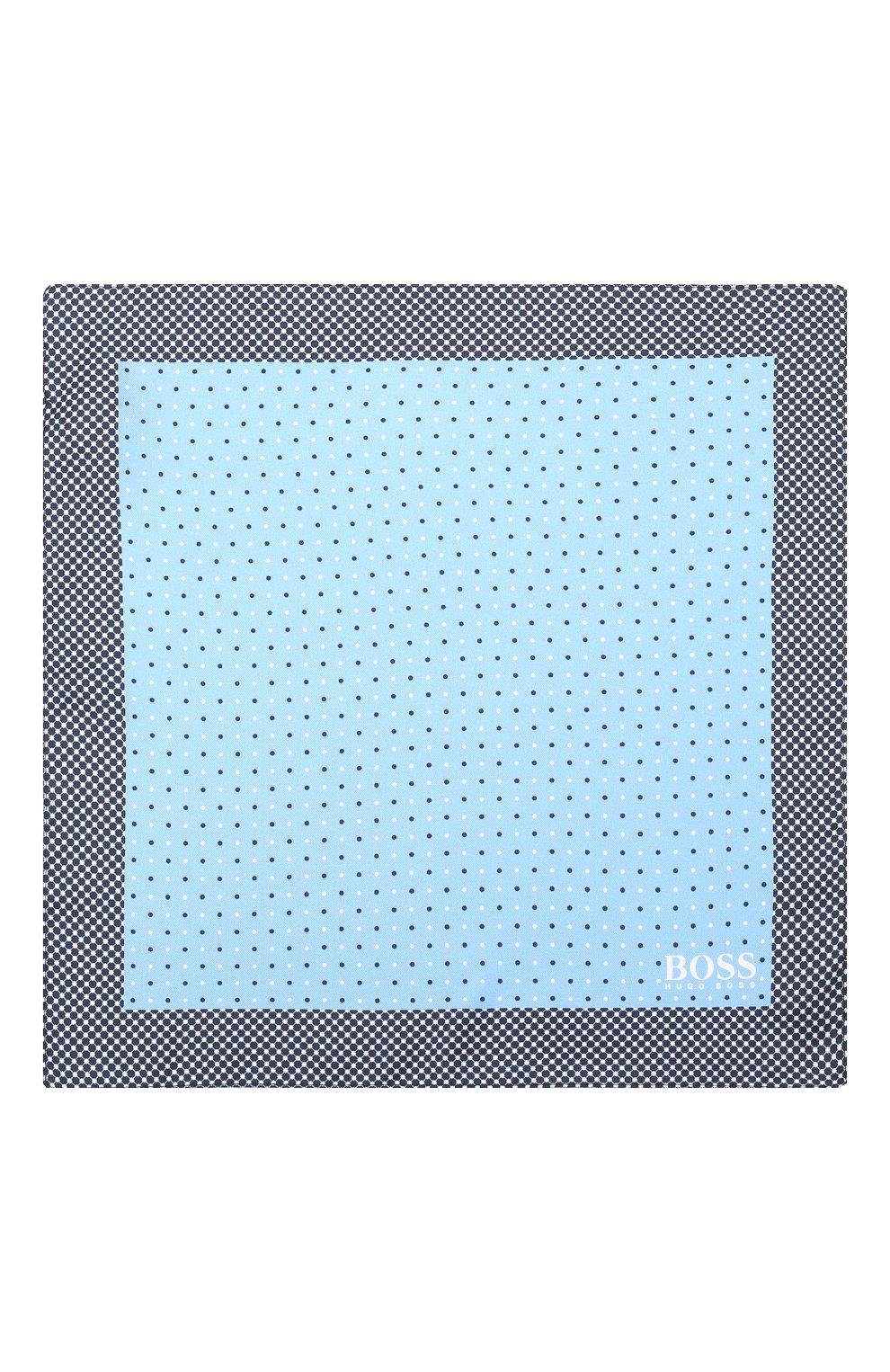 Мужской шелковый платок BOSS голубого цвета, арт. 50407225   Фото 3