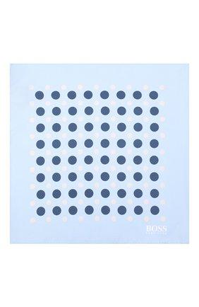 Мужской шелковый платок BOSS голубого цвета, арт. 50406616 | Фото 3