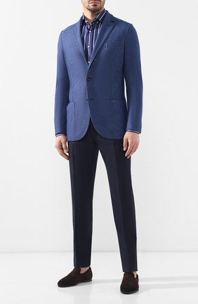Мужская хлопковая рубашка с воротником кент RALPH LAUREN синего цвета, арт. 791741065 | Фото 2