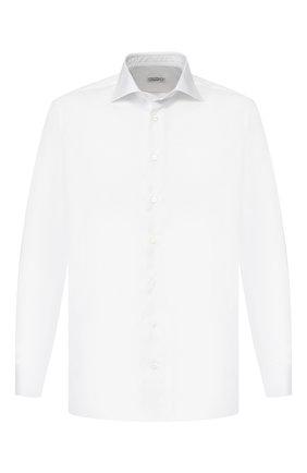 Мужская хлопковая сорочка с воротником кент ZILLI белого цвета, арт. MFR-12212-MERCU/RZ01 | Фото 1