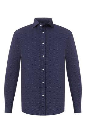 Мужская хлопковая рубашка с воротником кент RALPH LAUREN темно-синего цвета, арт. 791741068 | Фото 1