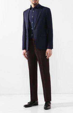 Мужская хлопковая рубашка с воротником кент RALPH LAUREN темно-синего цвета, арт. 791741068 | Фото 2