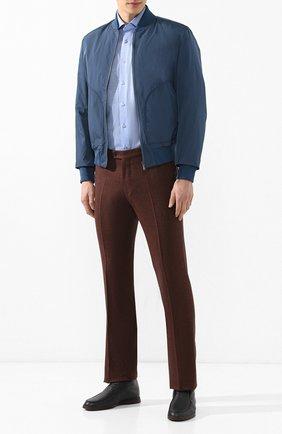 Мужская хлопковая рубашка ZILLI синего цвета, арт. MFR-12291-MERCU/RJ01 | Фото 2