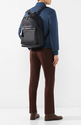 Мужской кожаный рюкзак TOM FORD темно-синего цвета, арт. HM250P-CG8 | Фото 2