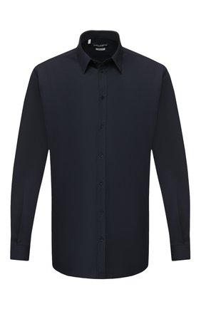 Мужская хлопковая сорочка с воротником кент DOLCE & GABBANA темно-синего цвета, арт. G5EJ0T/FUMRY | Фото 1