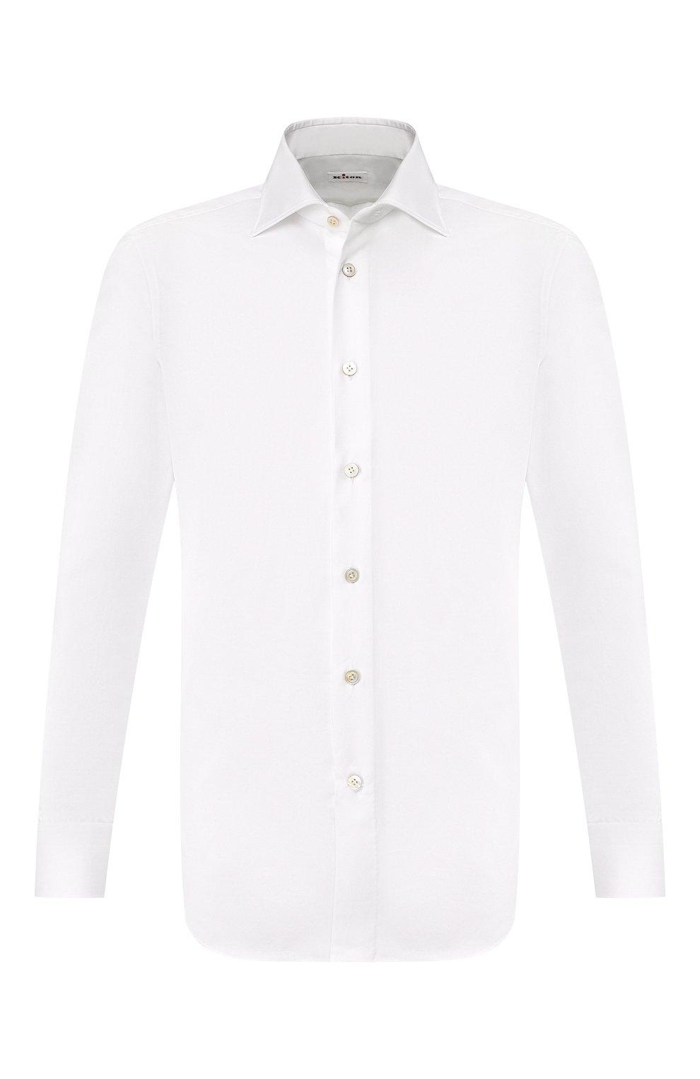 Мужская хлопковая рубашка с воротником кент KITON белого цвета, арт. UCIH0660701   Фото 1
