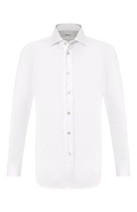 Мужская хлопковая рубашка с воротником кент KITON белого цвета, арт. UCIH0660701 | Фото 1