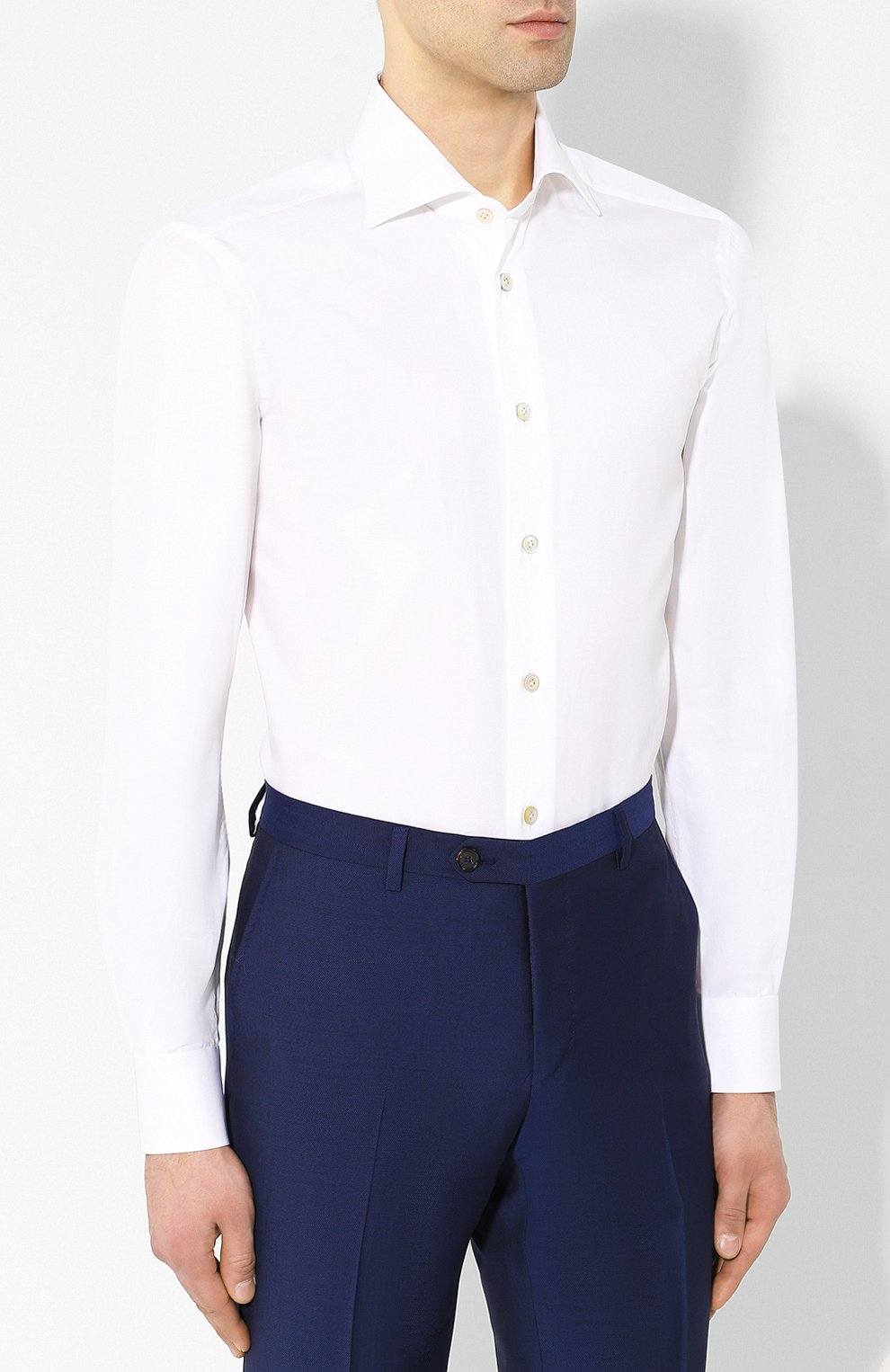 Мужская хлопковая рубашка с воротником кент KITON белого цвета, арт. UCIH0660701   Фото 3