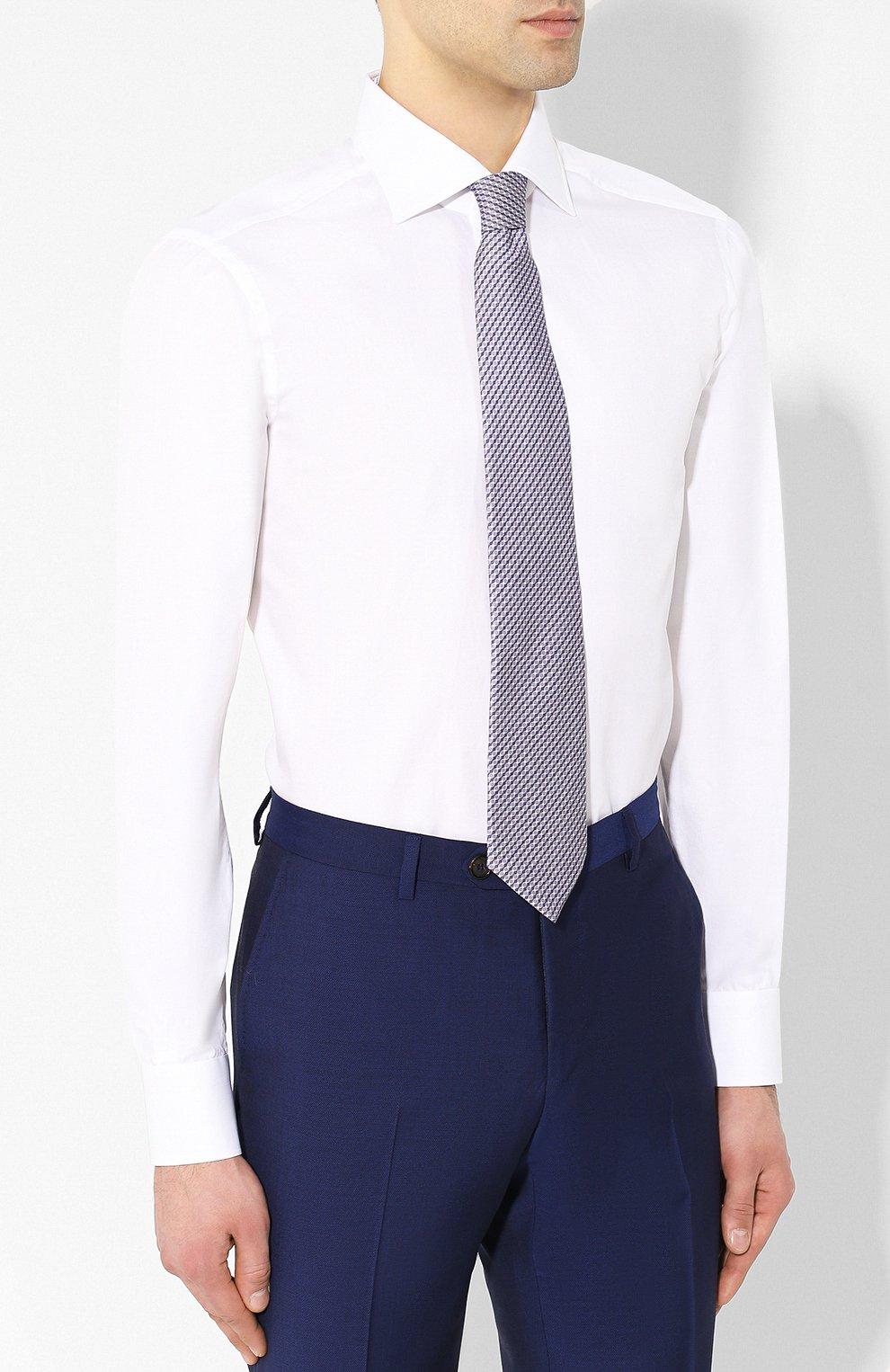 Мужская хлопковая рубашка с воротником кент KITON белого цвета, арт. UCIH0660701   Фото 4