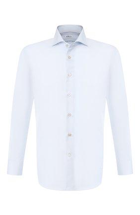 Мужская хлопковая рубашка с воротником кент KITON голубого цвета, арт. UCIH0660702 | Фото 1
