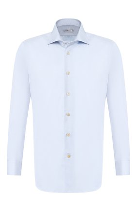 Мужская хлопковая рубашка с воротником кент KITON голубого цвета, арт. UCIH0660703 | Фото 1