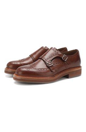 Мужские кожаные монки BRUNELLO CUCINELLI коричневого цвета, арт. MZUTULP933 | Фото 1