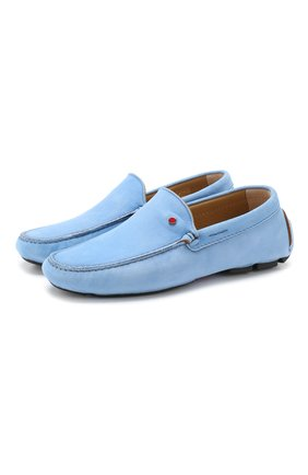Мужские замшевые мокасины KITON голубого цвета, арт. USSFARIN00104 | Фото 1