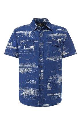 Мужская хлопковая рубашка RRL синего цвета, арт. 782725915 | Фото 1