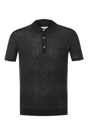 Мужское поло из смеси льна и шелка BRIONI темно-серого цвета, арт. UMR40L/P8K17 | Фото 1