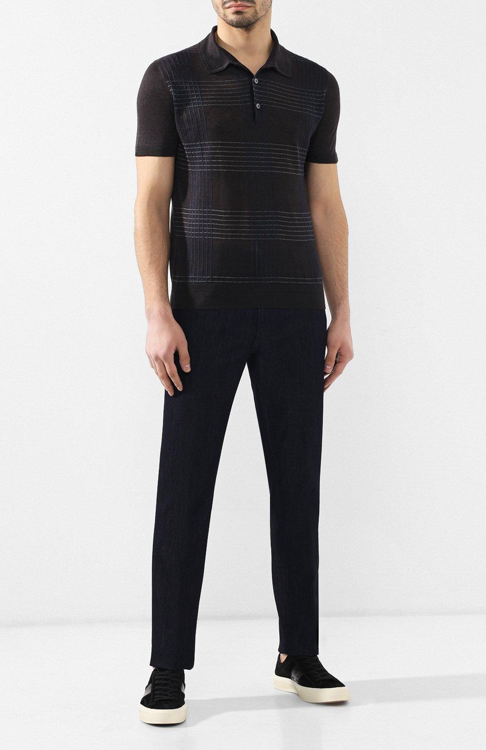 Мужское поло из смеси льна и шелка BRIONI темно-серого цвета, арт. UMR40L/P8K17 | Фото 2