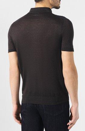 Мужское поло из смеси льна и шелка BRIONI темно-серого цвета, арт. UMR40L/P8K17 | Фото 4