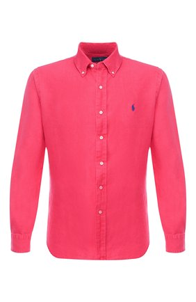 Льняная рубашка с воротником button down   Фото №1