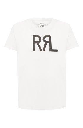 Мужская хлопковая футболка с принтом RRL кремвого цвета, арт. 782658264 | Фото 1